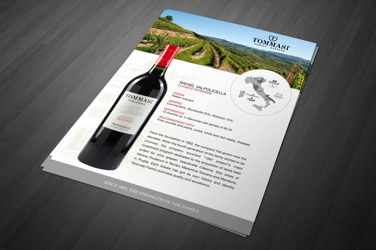 Wine bottle photography and sell sheet