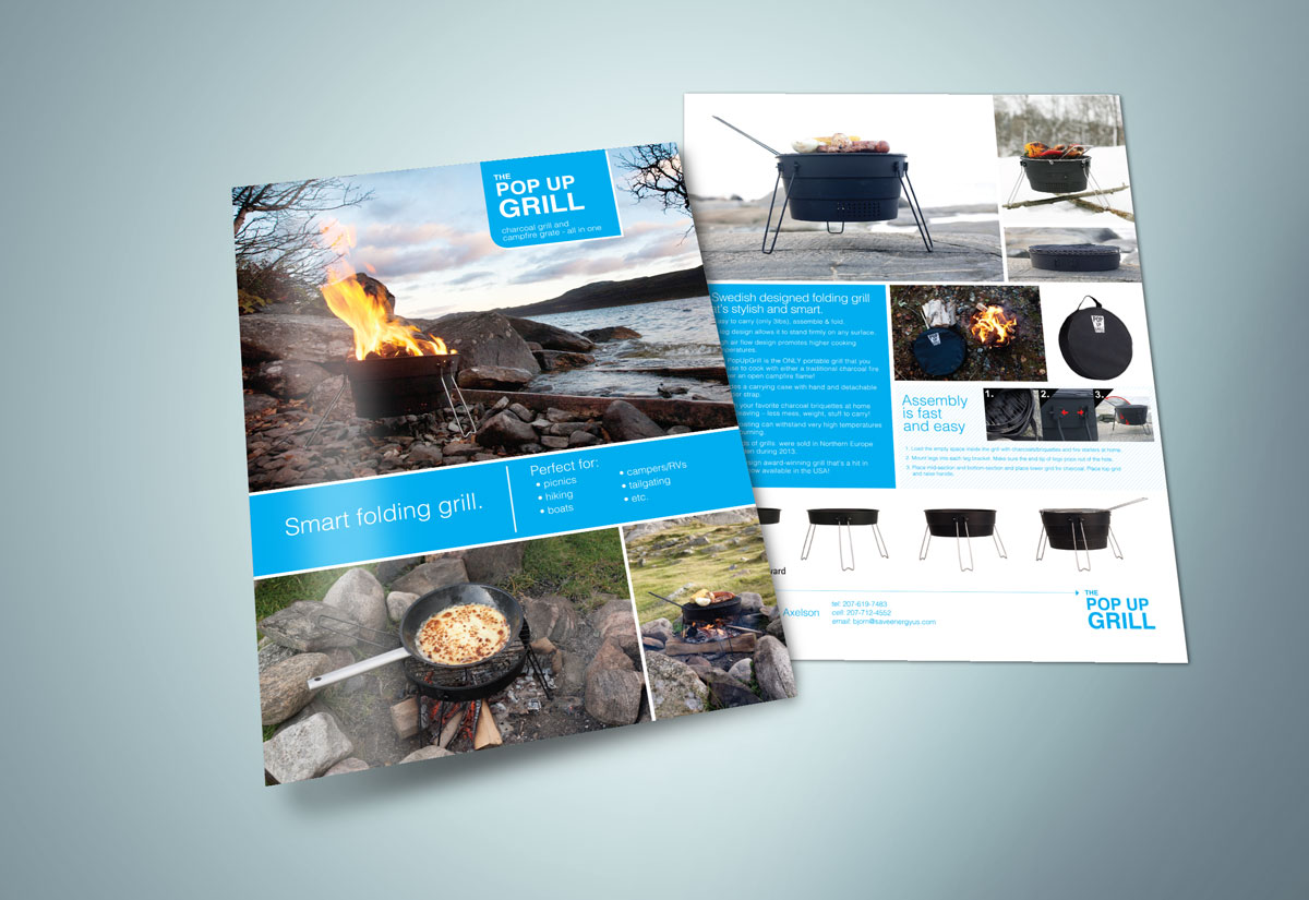 Sell Sheet design for Pop Up Grill